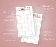 Personal Calendar Planner Inserts ROSA by ThePlannerEmporium