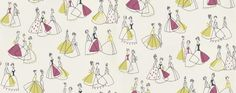 Fifi (212451) - Sanderson Wallpapers - Mid scale motif of stylised bell shape girls in drawn in black outline with pretty block colour patches, on their 50's style dresses. Shown in the lime green and blackcurrant purple on off white. Please request sample for true colour match.