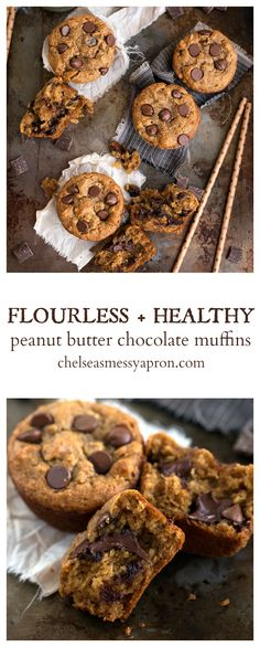 Flourless + Healthy Peanut Butter + Chocolate Muffins