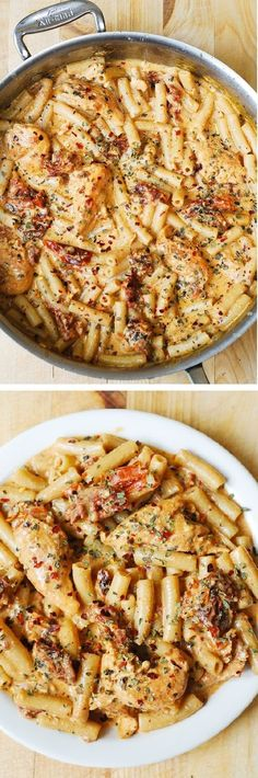 Chicken breast tenderloins sautéed with sun-dried tomatoes and penne pasta in a creamy mozzarella cheese sauce seasoned with basil, crushed red pepper flakes. If you love pasta, if you love Italian food – you'll LOVE this recipe! For GF sue GF pasta. I Love Food, Good Food, Yummy Food, Tasty, Chicken Mozzarella Pasta, Sundried Tomato Chicken Pasta, Chicken Penne, Basil Chicken, Chicken Alfredo