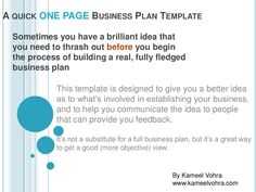 50 best business plan images on pinterest business planning a quick one page business plan template by kameel vohra accmission Image collections