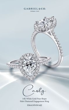 14K White Gold Pear Shape Halo Diamond Engagement Ring ER6419P4W44JJ#GabrielNY #UniqueJewelry #EngagementRings #WhiteGoldEngagementRings #PearShapedEngagementRing #HaloEngagementRings
