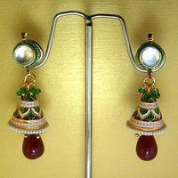 Meenakari Cone Jhumars with Drops (Maroon)