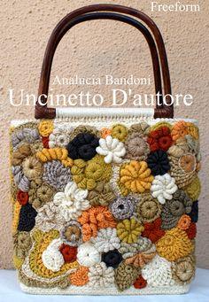 Crochet bag borsa uncinetto bolsa croche freeform                                                                                                                                                      More
