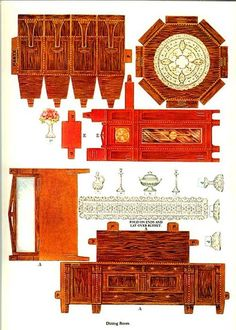 Paper Furniture, Doll Furniture, Dollhouse Furniture, Playhouse Furniture, Furniture Market, Paper Doll House, Paper Houses, Origami, Diy Dollhouse