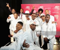 The adult cast of 'The New Edition Story' and the original members of New Edition backstage at the 2017 BET Awards at Microsoft Theater on June 25, 2017 in Los Angeles, California.