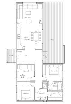 Small house plan, good choice for vacation or second home. Big windows towards terrace.