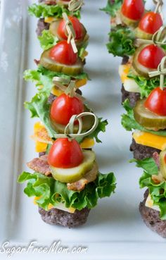 Skewer appetizers - Mini Bunless Cheeseburgers on stick minus the cheese for whole 30 lowcarb healthyappetizer Skewer Appetizers, Finger Food Appetizers, Healthy Appetizers, Appetisers, Appetizers For Party, Appetizer Recipes, Healthy Snacks, Party Recipes, Cold Appetizers
