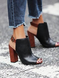 two-tone black and brown heels