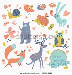 Vector set of cute wild animals in the forest: fox, bear, hedgehog, rabbit, snail, deer, owl, bird, mouse. Vintage set in cute colors - stock vector