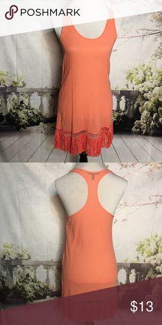 🔵 Victoria's Secret Racerback Dress Peach, racerback dress with fringe detail. Body: 100% cotton. Fringe: 100% polyester. Victorias Secret Dresses