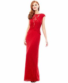 Holiday 2013 Red Hot Cap-Sleeve Lace Gown Look