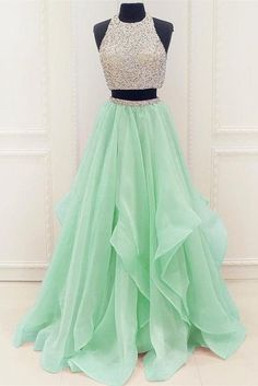 two piece beaded organza prom dresses graduation party dresses – BBtrending