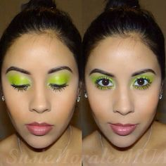 Bold and bright! Neon lime green eyeshadow for spring.