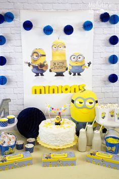 Easy Minions Party Ideas | Movie Watch Party - Michelle's Party Plan-It My son has started a small collection of minion items that were perfect for our party. So I started with hanging his poster for the backdrop and a tissue ball garland that I picked up at Target. Events | Party Planning | Cake | Decorations | Minions Theme