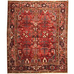 Herat Oriental Persian Hand-knotted 1920s Semi-antique Tribal Heriz Wool Rug (6'5 x 8'2) - 19005194 - Overstock.com Shopping - Big Discounts on Herat Oriental One of a Kind
