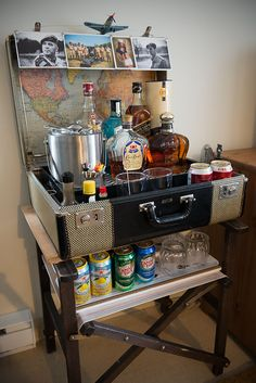 Vintage suitcase and director's chair converted to mini-bar
