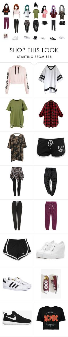 """training"" by i-am-reb ❤ liked on Polyvore featuring Boohoo, one spo, adidas Originals, Topshop, H&M, NIKE, adidas and Converse"