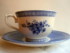 Vintage English Teacup in Churchill Blue and White
