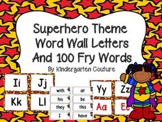 Here are some Superhero Theme Word Wall Letters to go with your Superhero Theme ClassroomAll consonant letters are in black. I made vowels in black and red.The first 100 Fry Words are also included!!Superhero Theme Word Wall Letters and 100 Fry Words (Blue background)Superhero Behavior Clip ChartSuperhero Make 10 Booklet and Memory Card GameNumber and Color Words Superhero Theme -Freebie
