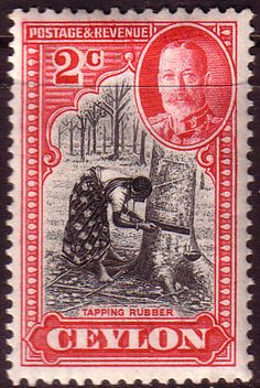 Ceylon 1935 King George V SG 368 Tapping Rubber Fine Mint SG 368 Scott 264 Other British Commonwealth stamps for sale here