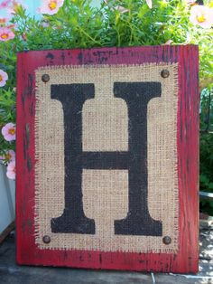 BURLAP MONOGRAM sign Personalized any letter A-Z, Initials, Name letters, Vintage Style, 12x10. $34.00, via Etsy.