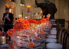 Silver and Tangerine Wedding at the Field Museum - Chicago
