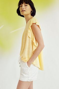 Fluttered Ina Top in color white, reg XS #anthropologie