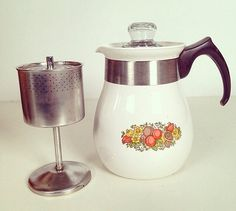 vintage Corning Ware spice of life 6 cup coffee perch pot by forrestinavintage, $16.00