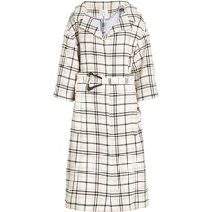 Carven Belted Coat ($800) ❤ liked on Polyvore featuring outerwear, coats, multicolored, checkered coat, checked coat, belt coat, flare coats and shrug cardigan