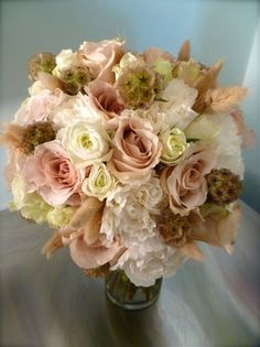 peach romantic wedding flower bouquet, bridal bouquet, wedding flowers, add pic source on comment and we will update it. www.myfloweraffair.com can create this beautiful wedding flower look.