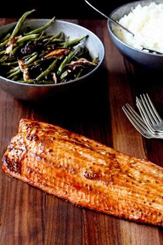 Dinner in 12 minutes - Miso Mustard Roasted Salmon In Sock Monkey Slippers Salmon Recipes, Fish Recipes, Seafood Recipes, Dinner Recipes, Cooking Recipes, Healthy Recipes, Smoker Recipes, Fish Dishes, Seafood Dishes