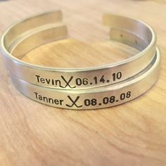 Hockey Mom Personalized Stamped Cuff Listing by AmberDawnJewelry