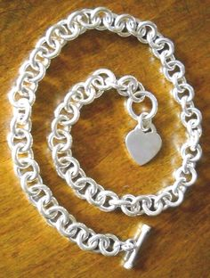 """Heavy #RoloLink #Toggle #HeartCharm Solid #925Silver #SterlingSilver #Necklace, 96.9g 17"""" #Chain"""
