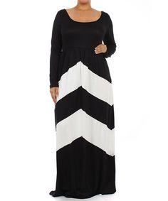 Look what I found on #zulily! Black & White Chevron Maxi Dress - Plus by J-Mode USA Los Angeles #zulilyfinds