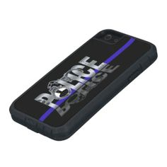Thin Blue Line: POLICE iPhone 5 Tough Case Customize background color and add your own text (department name) to make it your own.