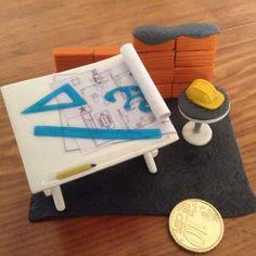 dal mio negozio Etsy: porta biglietti da visita da tavolo miniature disegno edilizia architetto ingegnere geometra