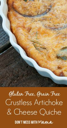 Crustless Artichoke & Cheese Quiche - low carb