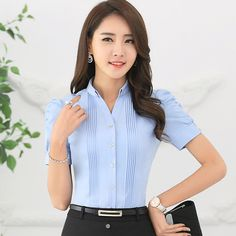 Fashion V-Neck short sleeve slim women shirt OL Formal Business puff sleeve chiffon blouse office ladies plus size wor wear tops Business Fashion, Sewing Blouses, Uniform Design, Classy Casual, Office Ladies, Blouse Designs, Blouses For Women, Ideias Fashion, Fashion Dresses