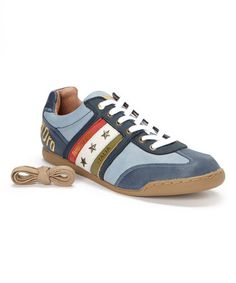 Blue Tre Stelle Leather Sneaker by Pantofola d'Oro