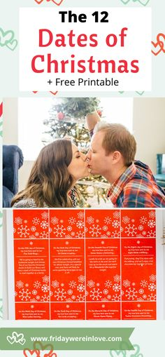 The 12 Dates of Christmas with a free printable to hep you sync the Christmas classic song with the perfect Christmas date night! 12 Dates Of Christmas, Holiday Dates, Unique Date Ideas, Cheap Date Ideas, Marriage Tips, Happy Marriage, Relationship Coach, Relationship Quotes, Teen Dating