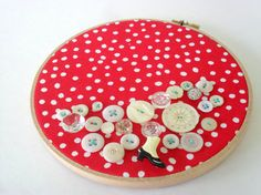 red polka dot embroidery hoop art fabric wall decor button art mixed media collage