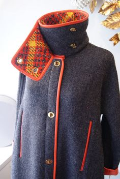 1960's New-Old Bonnie Cashin wool coat with orange leather trim. size small, 298.