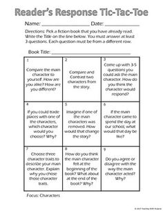 Responding to reading is such an important skill for students to master. I am always looking for creative ways to get my students to respond to their reading. I created this Tic-Tac-Toe board to get my students thinking and then to let them write about their thoughts.