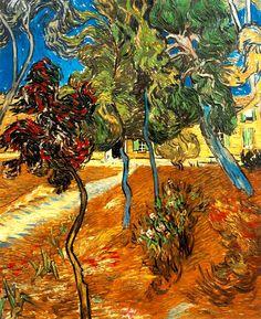 Vincent Van Gogh - Trees in the Garden of Saint-Paul Hospital. Oil on canvas, 73 x 60 cm. Private Collection Vincent Van Gogh - Trees in the Garden of Saint-Paul Hospital. Oil on canvas, 73 x Private Collection Vincent Van Gogh, Paul Vincent, Van Gogh Art, Art Van, Van Gogh Pinturas, Van Gogh Paintings, Van Gogh Museum, Dutch Painters, Dutch Artists