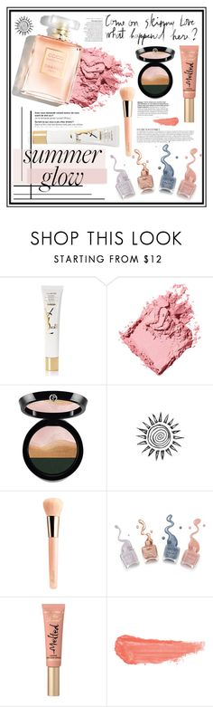 """""""Golden Goddess: Summer Glow"""" by fabulousbyangelika ❤ liked on Polyvore featuring beauty, Yves Saint Laurent, Bobbi Brown Cosmetics, Giorgio Armani, Guerlain, Anja, Too Faced Cosmetics, By Terry, polyvoreeditorial and summerglow"""