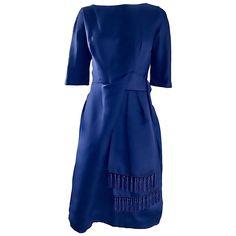 Spectacular 1950s Demi Couture Navy Blue Silk Vintage Dress w/ Tassel Details