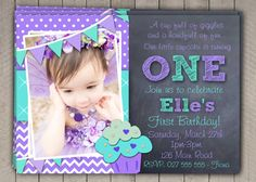 Printable Download / Girls 1st Birthday Invitation / First Birthday Invitation Invites / Purple Aqua Cupcake DIY Digital Chevron Polka (10) on Etsy, $10.00