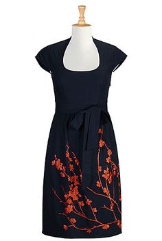Floral embellished A-line poplin dress from eShakti -- Navy with embroidered red-russet flowers on the front of the skirt.