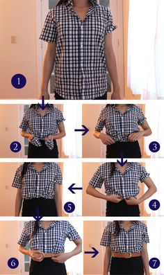 Class up your outfit by hiding your knotted shirt under a belt, like so...